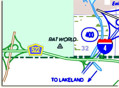 "Detail of ""Rat World"" marker from Florida DOT Highway Map"