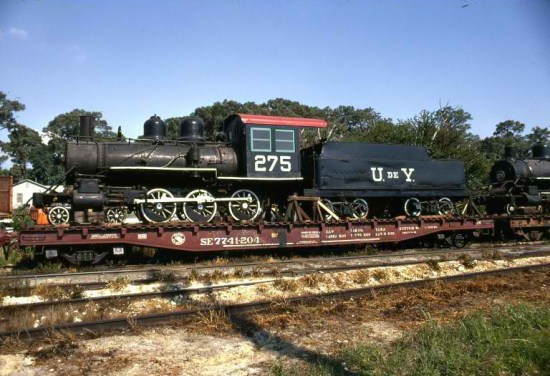 "Engine 275, a Baldwin 4-6-0, en route from the Yucatan to Tampa Bay, where it was refit and restored to become the Walt Disney World Railroad's ""Roger E. Broggie"""