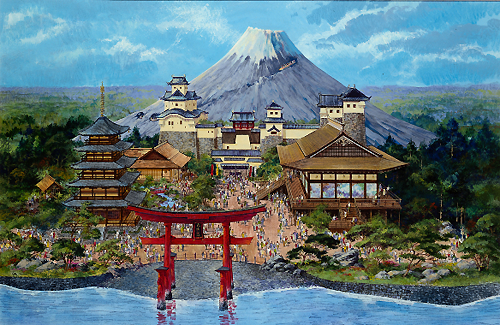 The Japan Pavilion, with Mount Fuji towering in the background