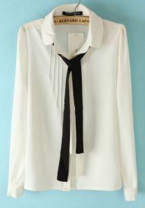 Pleated White Blouse W/Necktie