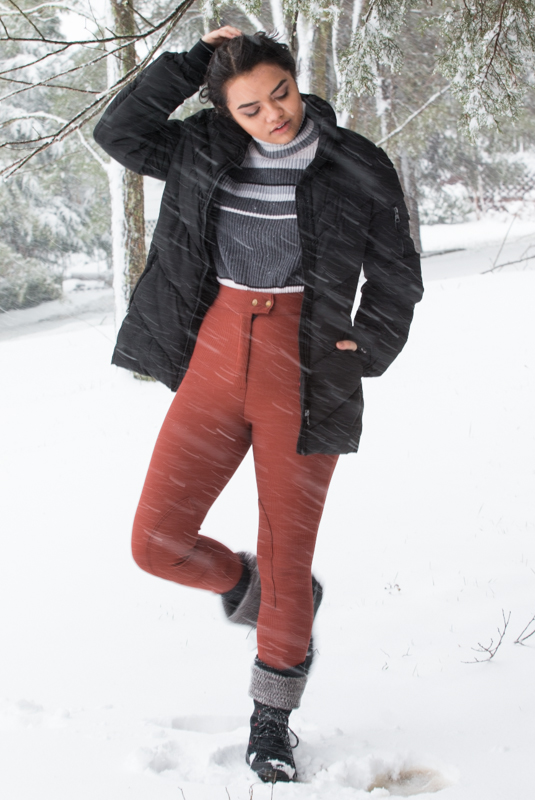 Steve Madden Jacket. Turtleneck--Thrifted. Burnt Sienna Riding Pant--American Apparel. Winter Boots--Thrifted.