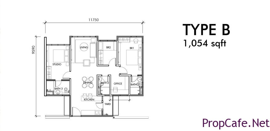 Type B:  1054sf 2Bedroom + 1 studio + 1 Office + 3Bath