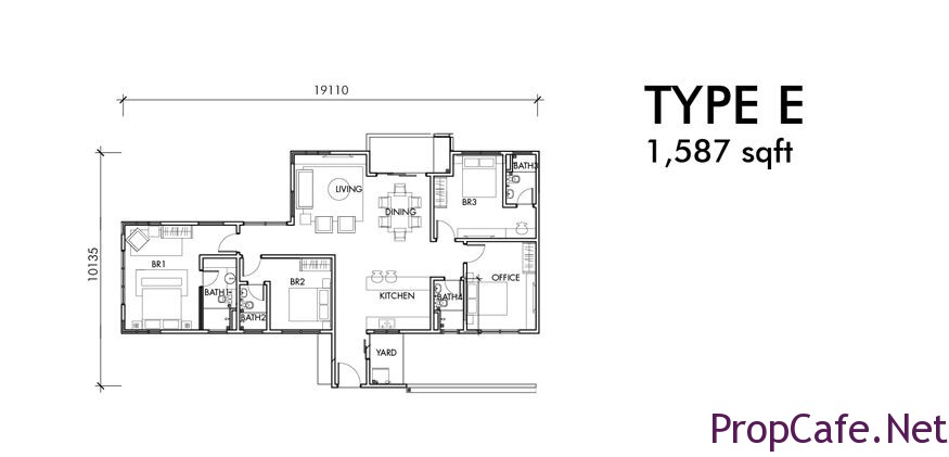 Type E: 1587sf 3Bedroom + 1 Office + 4Bath