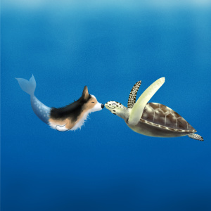 Mermaid corgi and turtle