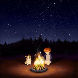 Boy and corgi dog at campfire illustration