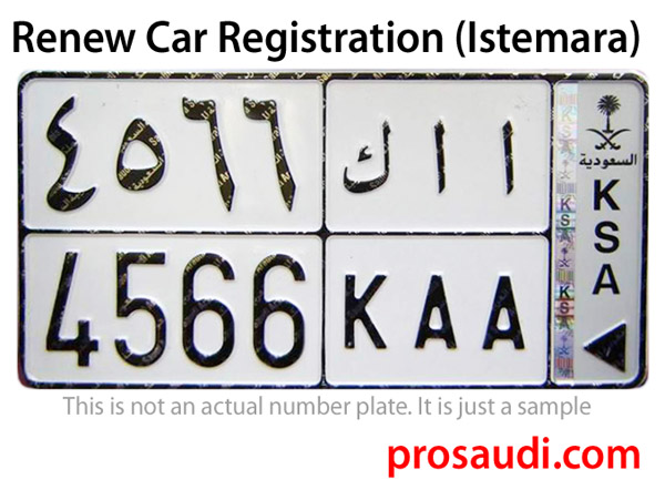 A Sample Vehicle Number Plate of Saudi Arabia