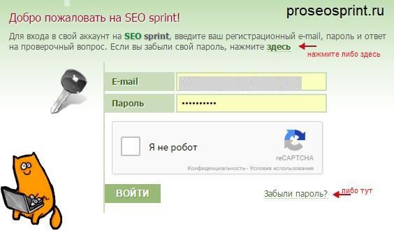 Восстановление пароля seosprint