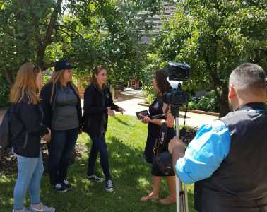 Seniors Grace Connolly, Grace Godby and Abby Grott complete an interview at the Botanical Gardens. They were there for an Italian internship, which they were interviewed about. (photos courtesy of Abby Grott)
