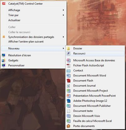 Capture d'écran - Menu contextuel du Bureau sous Windows 7