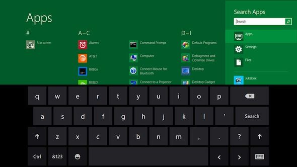 Capture d'cran - Clavier virtuel tactile sous Windows 8