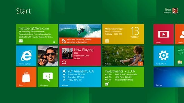 Capture d'cran - Le Start Screen de Windows 8 avec l'interface Metro
