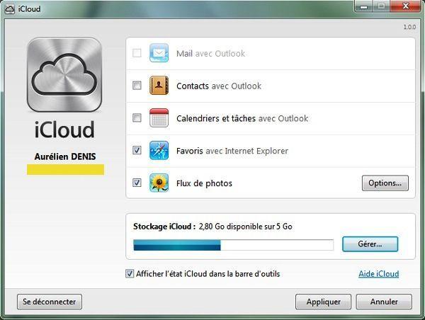 Capture d'écran - Choix des éléments iCloud par Apple