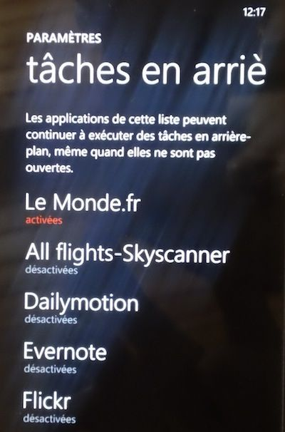 Capture d'cran - Liste des tches en arrire-plan sous Windows Phone 7