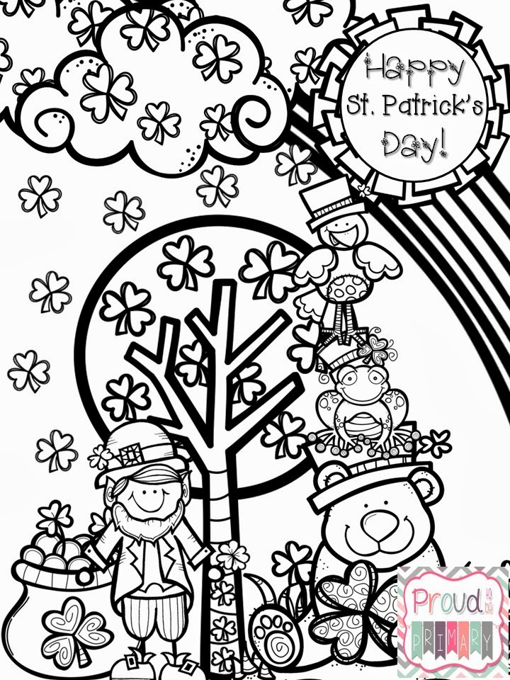 St patrick 39 s day fun pack proud to be primary for St patrick s day leprechaun coloring page