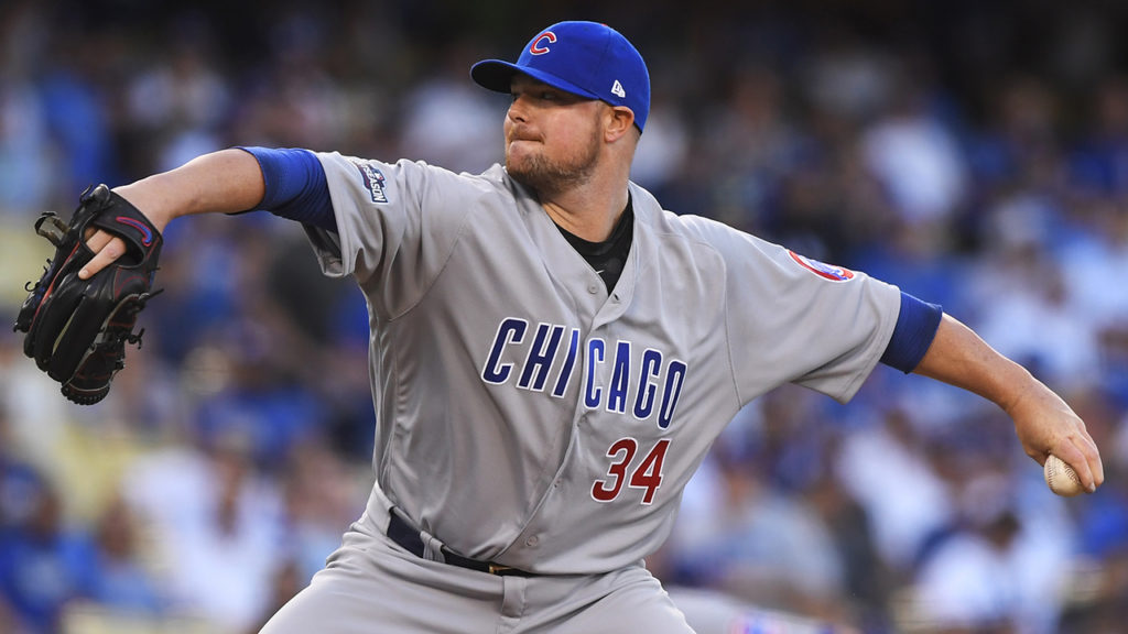 Chicago Cubs starting pitcher Jon Lester throws during the first inning of Game 5 of the National League baseball championship series against the Los Angeles Dodgers Thursday, Oct. 20, 2016, in Los Angeles. (AP Photo/Mark J. Terrill)