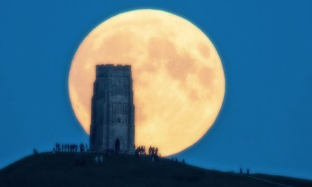 Glastonbury Tor at supermoon