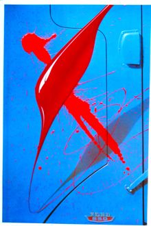 Blue Truck red Paint poster by Michael English