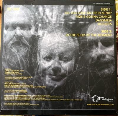 The newly released SLAPRAN LP backcover of Swedish guitar prog release from Psychotron Records Label