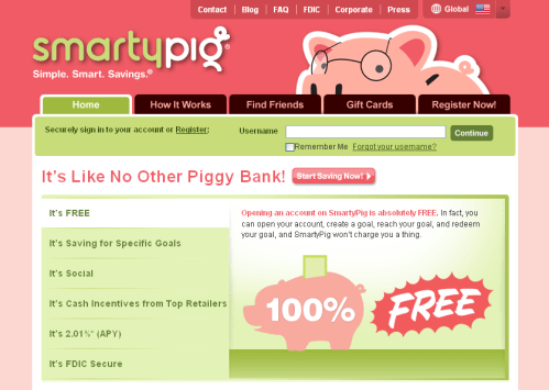 SmartyPig Savings Home Page