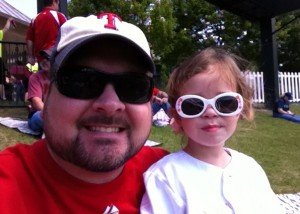 Taking in afternoon Rangers baseball with my daughter, a benefit of self-employment.