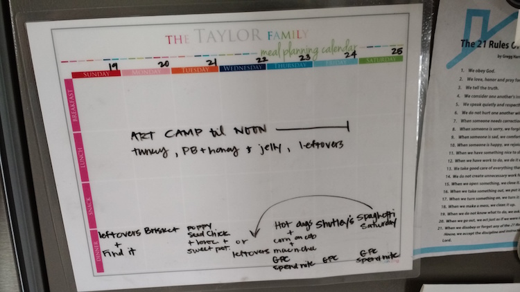 Taylor Family Meal Planning Calendar