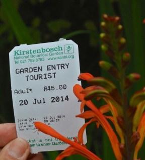 Entry ticket Kirstenbosch Botanical Garden