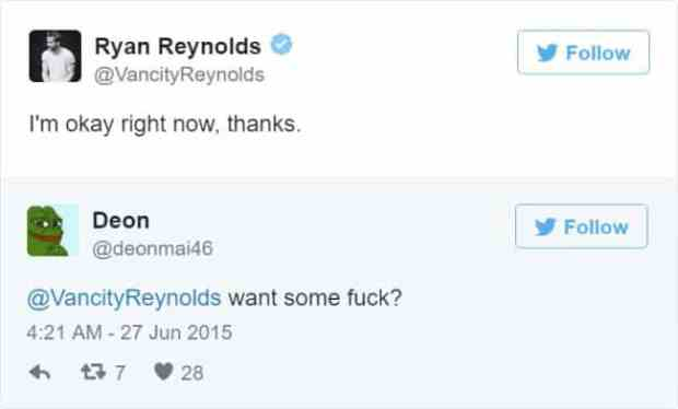 57bd1bc6ddc4a - Ryan Reynolds' Ãœber Polite Responses To Horny Fan Tweets Are The Funniest Thing Ever