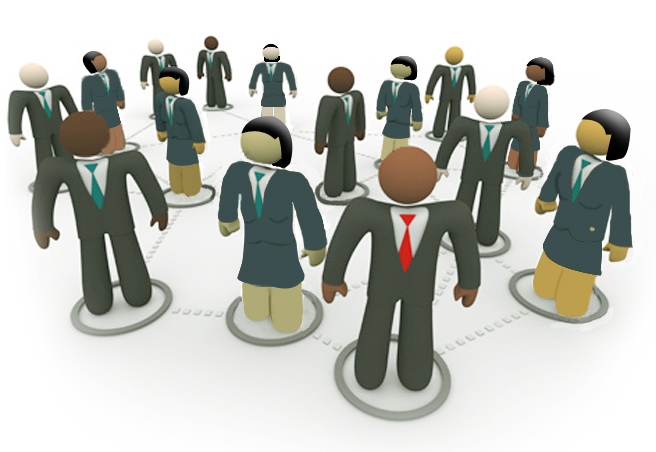 A diverse social network of business people in suits and ties