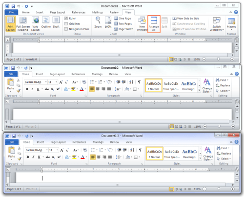 Microsoft Office 2010 - Arrange All