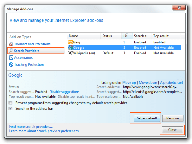 Internet-Explorer 9 - Add-Ons Manager