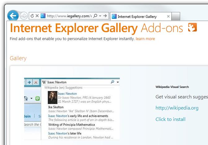 Internet Explorer 9 - Install new provider