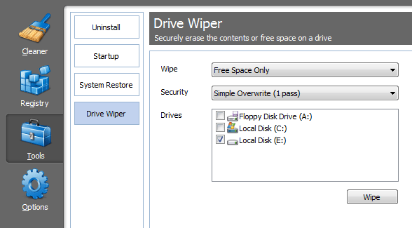 CCleaner - Tools - Drive Wiper - Settings