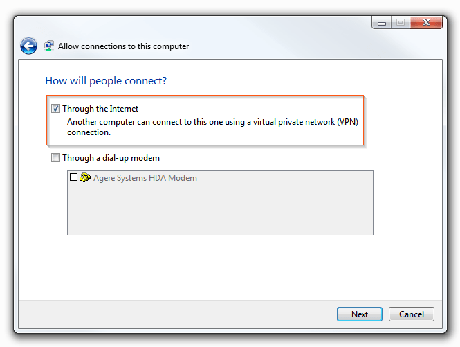 Windows 7 VPN Server - How will people connect
