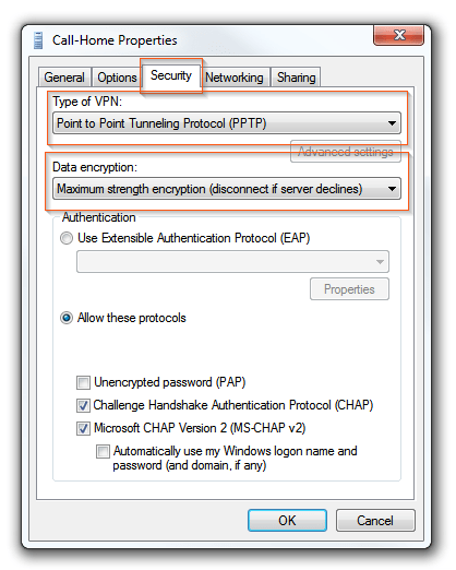 Windows 7  VPN connections - Security options