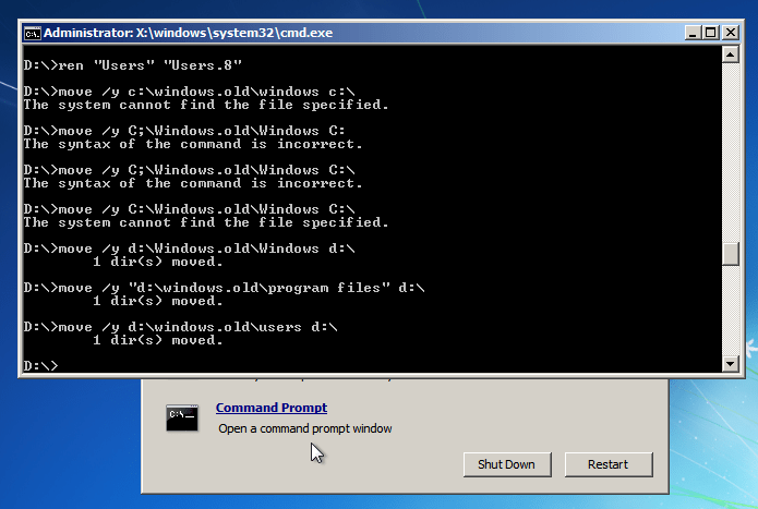 Uninstall Windows 8 - Windows 7 Command Prompt - Move
