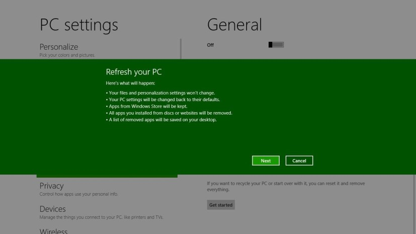 Refresh your PC - Windows 8