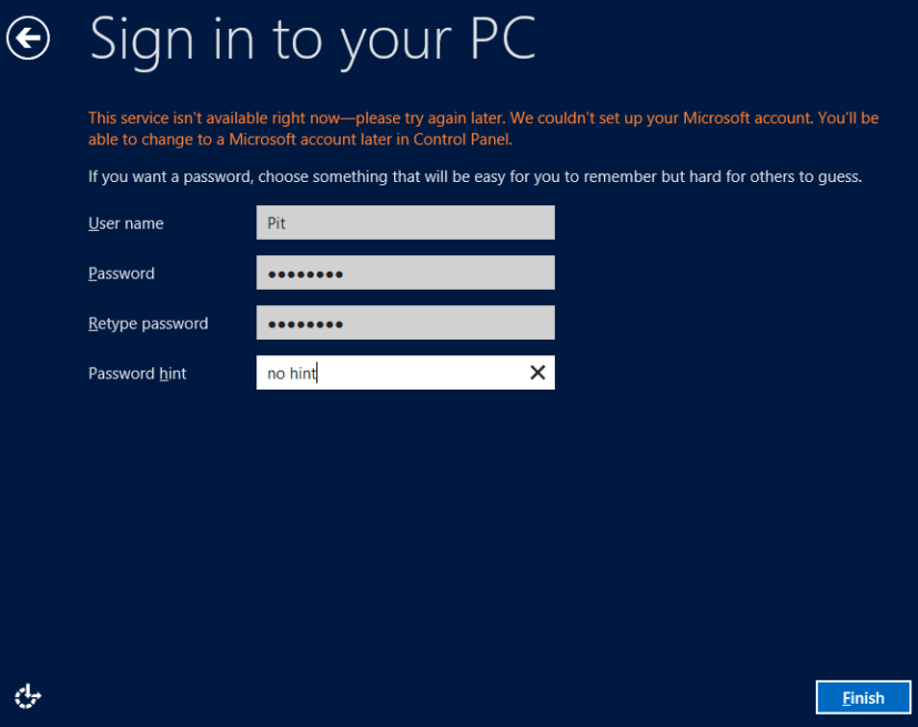 Windows account local - Windows 8 Consumer Preview