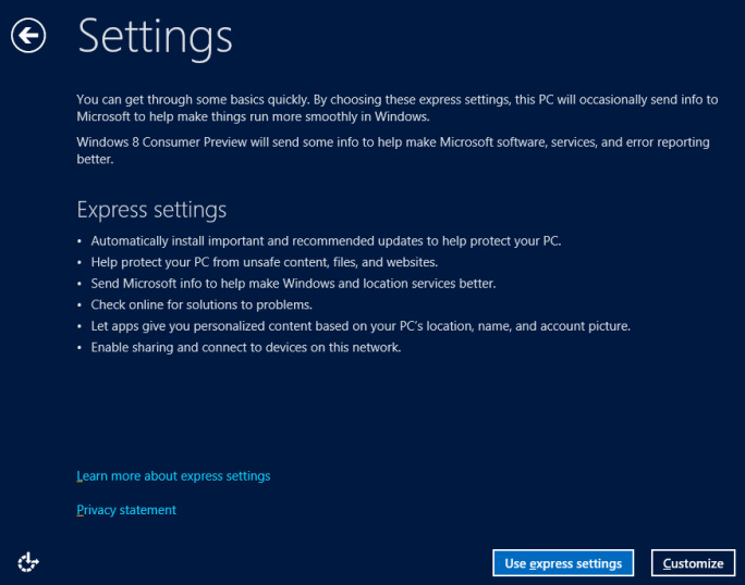 Settings: Windows Setup - Windows 8 Consumer Preview