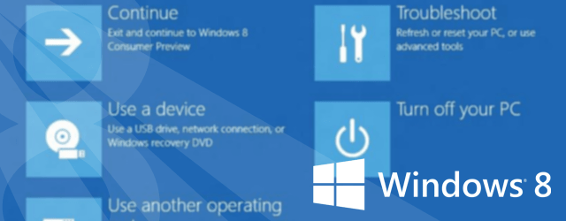 Boot options menu - Windows 8