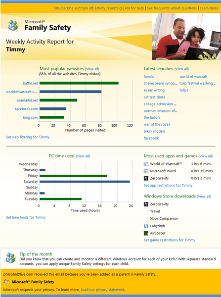Family Safety Windows 8 report