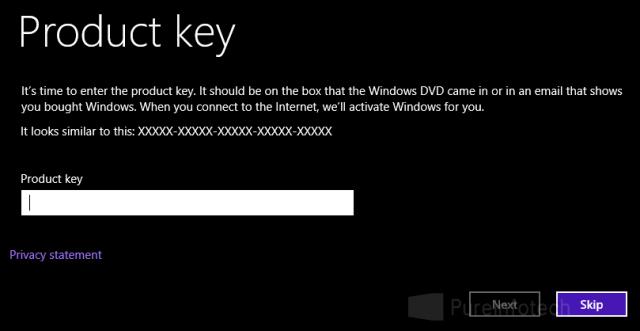 Enter Windows 8 serial number