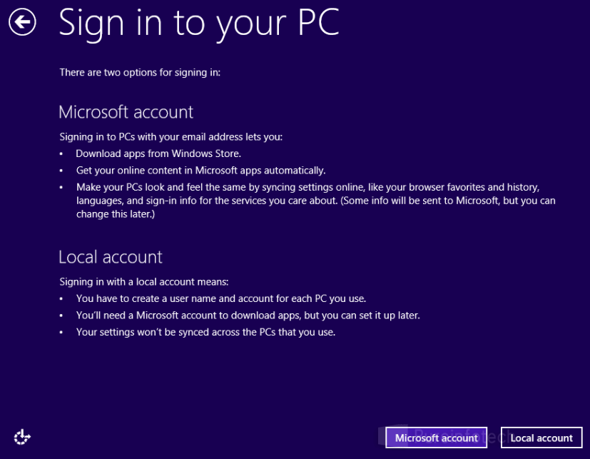 Local account Win 8