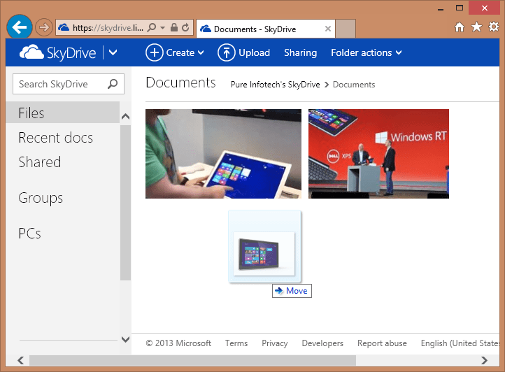 Drag and Drop file SkyDrive