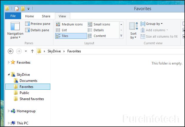 SkyDrive folder in File Explorer