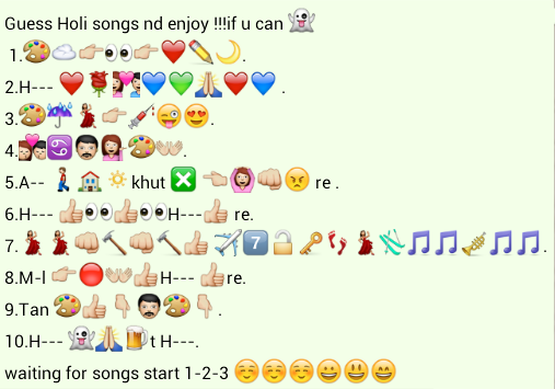 Guess holi songs whatsapp puzzle