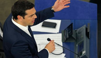 Greek Prime Minister Alexis Tsipras addresses the European Parliament in Strasbourg, France, July 8, 2015. Greek Prime Minister Alexis Tsipras pleaded in the European Parliament on Wednesday for a fair deal to keep his country in the euro zone, acknowledging Greece's own responsibility for its plight, after EU leaders gave him five days to come up with reforms. REUTERS/Vincent Kessler