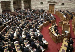 Γενική άποψη από τη συζήτηση στην Ολομέλεια της Βουλής με θέμα: Κύρωση της Τελικής Συμφωνίας για την Επίλυση των Διαφορών οι οποίες περιγράφονται στις Αποφάσεις του Συμβουλίου Ασφαλείας των Ηνωμένων Εθνών 817 (1993) και 845 (1993), τη Λήξη της Ενδιάμεσης Συμφωνίας του 1995 και την Εδραίωση Στρατηγικής Εταιρικής Σχέσης μεταξύ των Μερώv, Τετάρτη 23 Ιανουαρίου 2019.   ΑΠΕ-ΜΠΕ/ΑΠΕ-ΜΠΕ/ΣΥΜΕΛΑ ΠΑΝΤΖΑΡΤΖΗ