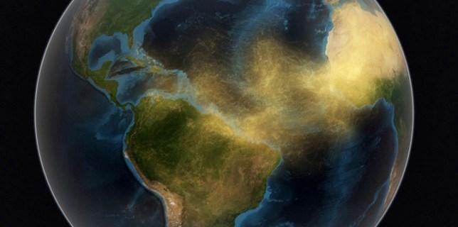 World Map Saharan Dust Travels To Amazon
