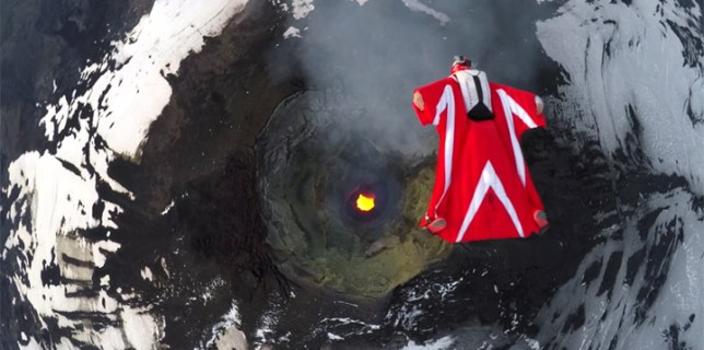 Italian Base Jumper Over Volcano