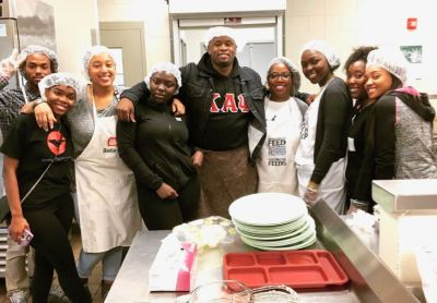 A group of Livingstone College juniors provide volunteer service at the Rowan Helping Ministries Food Bank. From left to right, Justice Marshall, Tonia Dean, Kenya Battle, Terrell Richardson, Shereka Dabney, Shivona Patterson, Destiny Glenn and Jamia Carter (Photo: Livingstone College News Service)